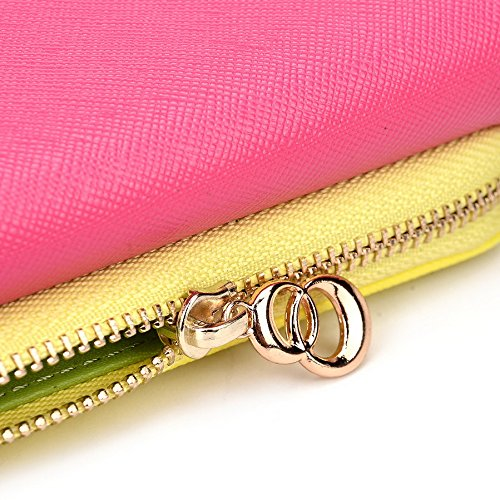 Kroo d'embrayage portefeuille avec dragonne et sangle bandoulière pour Samsung Galaxy S4Mini Black and Green Magenta and Yellow