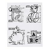 Hongma Silikonstempel mit Buchstaben Pig-Bank Bär Wachsmalstift Vintage DIY Handwerk Dekor