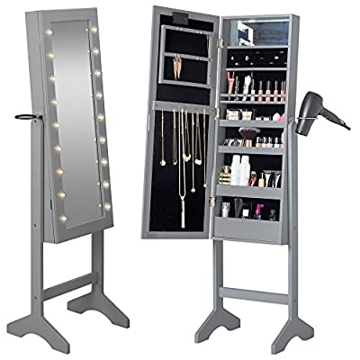 Beautify Floor Standing Make Up and Jewellery Organiser Cabinet with Mirror & LED Lights - low-cost UK light store.