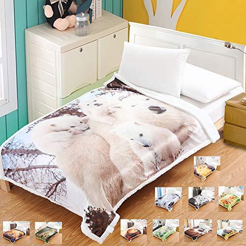 Coperta sherpa matrimoniale divano e letto pile morbida animali reversibile adulto fleece di microfibra per 4 stagione 130x170cm (tigre polare)