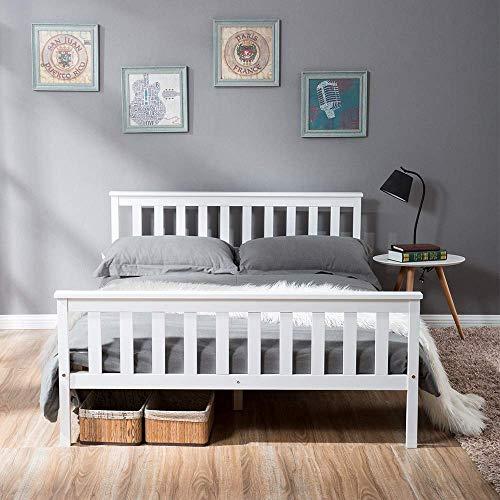 ModernLuxe Doppelbett 140x200 cm Massivholzbett Bettgestell mit Lattenrost und Kopfteil Holzbett Kiefer weiß Futonbett Jugendbett Bett Balkenbett Holzbett