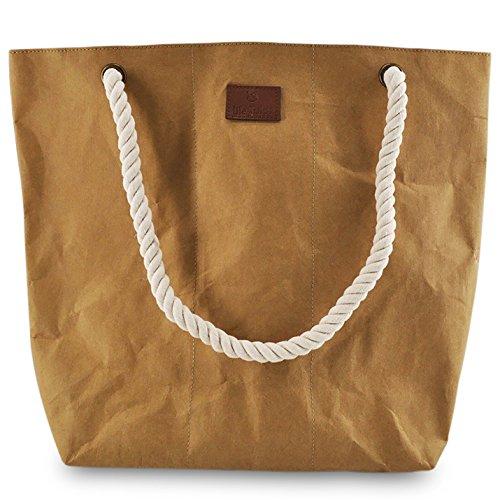 Strand Tasche Tote Handtasche (lila Tulpe - Shopper Holly - hochwertige Damen Handtasche / Schultertasche aus waschbaren Papier mit Lederoptik / veganes Papier-Leder / leicht, reißfest und wasserbeständig)