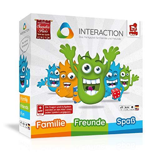 INTERACTION - das ultimative Familienspiel & Partyspiel - interaktiv - spannend - lustig I rudy games Brettspiel mit App ab 8 Jahren, für 2 - 9 Spieler I Gemeinschaftsspiel Unterhaltungsspiel