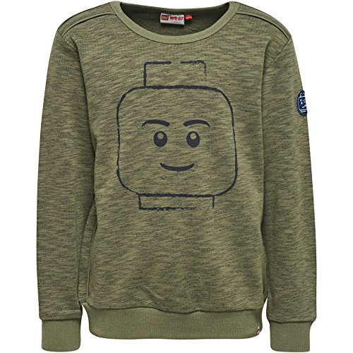Jungen Khaki (LEGO Wear Jungen Lego Boy Saxton 606-Sweatshirt, Grün (Dark Khaki 897), 128)