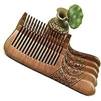 Circlefly Peine de Nogal Grabado Grande Rizado Pelo Peine Masaje Salud Peine Puede presentarse como un