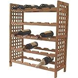 Estantería de madera maciza de acacia botellas de vino pared montaje para 25 botellas Botellero de madera Estante Modern con repisa - 24 x 76 x 25 cm