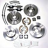 Autoparts-Online Set 60003351 Bremsscheiben/Bremsen Set Vorne + Hinten + Sensoren + Handbremsbacken + Zubehör + Bremsschläuche Vorne + Hinten