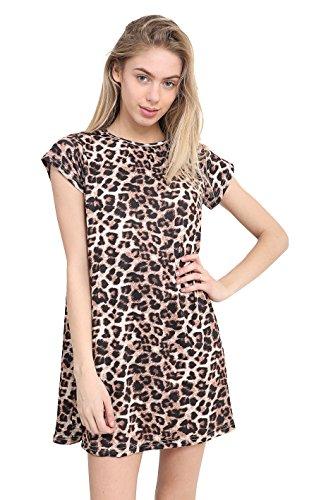 GW CLASSYOUTFIT - Vestido de Manga Corta para Mujer y niña Estampado De Leopardo L/XL