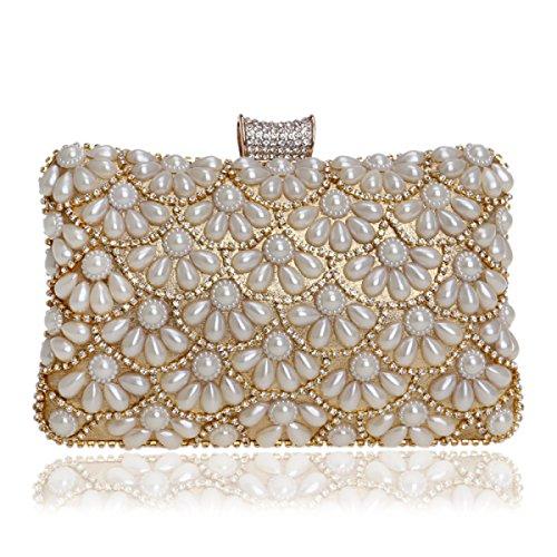 FZHLY Frau Pearl Clutch Hand Umhängetasche Gold