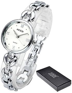 JSDDE Uhren,Elegant Damen Armbanduhr Strass XS Slim Damenuhr Metall Armband Armreif Armbanduhr Quarzuhr,Silber