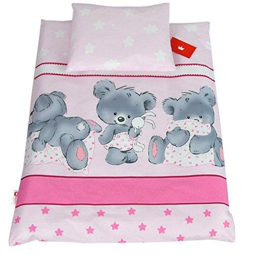 BABYLUX 2 tlg. Set Bezug für Kinderwagen Stubenwagen oder Wiege Garnitur Bettwäsche Kissen Decke 60 x 78 cm (78. Bäre Rosa)