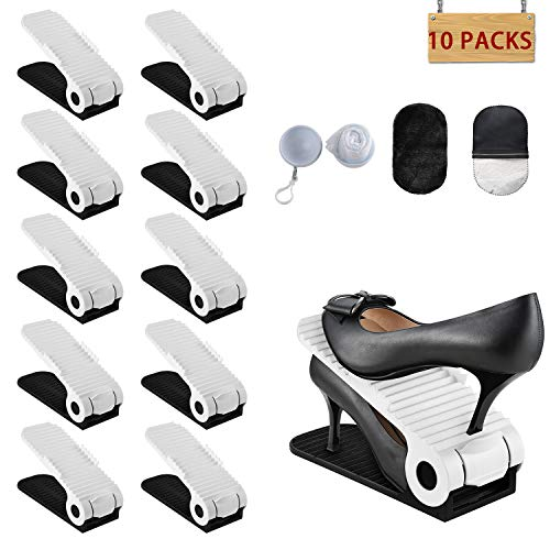 HOBFU Soporte de calzado con ranura ajustable para, Organizador de zapatos Space Saver Estantes para almacenamiento en rack Soporte Durable Apilador de zapatos, 10 PCS