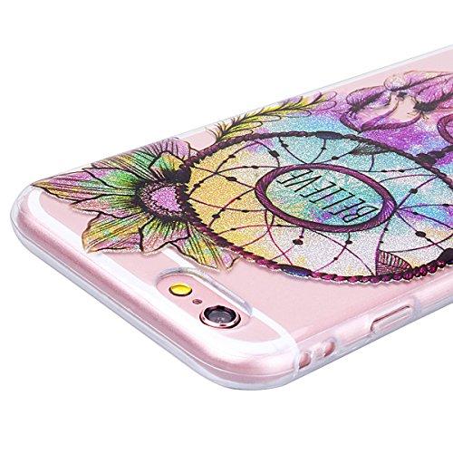 WE LOVE CASE Coque iPhone 6 Plus, Transparente en Premium Gel Coque iPhone 6S Plus Silicone Souple Mince et Clair, Coque de Protection Bumper Gel Motif Fleur Coque Apple iPhone 6 Plus iPhone 6S Plus M Windbell