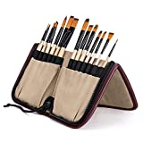 Bianyo Wood Paint Brushes Set - 14 pcs Nylon Multifunctional Round Paint Brush Artist Painting Supplies for Acrylic, Watercolor, Oil and Face Painting , 1 Beige Carrying Case with Holder