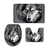 Showudesigns 3 pcs/lot d'impression Animal Housse pour abattant de WC souple Warmer WC Mad Pad, flanelle, Loup gris, Taille M