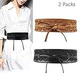 Jurxy 2 Paquetes Bowknot De Las Mujeres Cinturón Ancho de Encaje con cinturón Cinturón de Lazo para Mujer Cuero sintético Estilo OBI Cinturones Boho Corset - Negro y Cafe