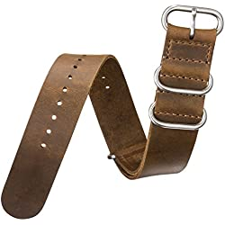 ZULUDIVER® Watch Strap in 'Crazy Horse' Oiled Natural Pull-Up Leather, Coffee Brown, 20mm