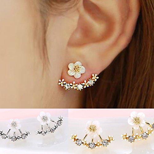 Qingsun Sterling Silber Ohrringe Gänseblümchen Form für Hochzeiten, Bankette (1 (Ohrringe)