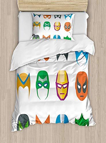 WENYAO Superheld Twin Size Bettbezug, Held Maske weiblich männlich Kostüm Power Gerechtigkeit Menschen Mode Icons Kinder Display, dekorative 2 Stück Bettwäsche Set mit 1 Kissen Sham, - Kissen Menschen Kostüm