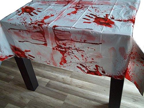 Sachsen Versand Blutige Tischdecke Blut Decke Halloween Horror verschmiert Grusel gruslig Deko Karneval Fasching Motto Party