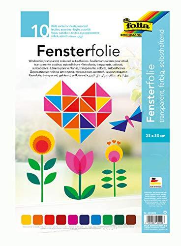 folia 455409 - Fensterfolie, selbsthaftend, transparent, farbig sortiert, ca. 23 x 33cm, 10 Blatt - ideal zur Gestaltung von Fensterbildern