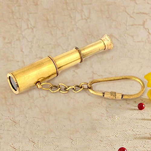 Handicrafts Gift House Pure Brass Handcrafted Telescope in Key Chain -171  available at amazon for Rs.284