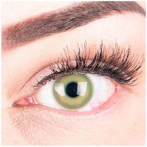 """Sehr stark deckende und natürliche grüne Kontaktlinsen SILIKON COMFORT NEUHEIT farbig """"Alice Green"""" + Behälter von GLAMLENS - 1 Paar (2 Stück) - DIA 14.50 - ohne Stärke 0.00 Dioptrien"""