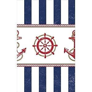 """Amscan-Anclaje de anclas náuticas parte funda para mesa rectangular vajilla, multicolor, 54""""x 102"""""""