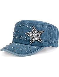 styleBREAKER Military Jeans Cap mit Stern Strass-Nieten Applikation, verstellbar, Damen 04023035