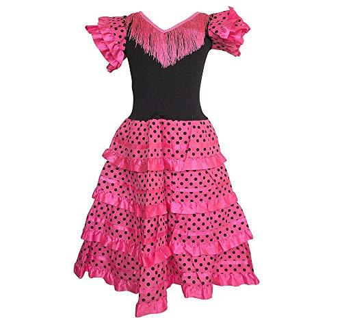Flamenco Senorita Spanische Kostüm Tänzerin - La Senorita Spanische Flamenco Kleid/Kostüm - für Mädchen/Kinder - Rosa/Schwarz - Größe 116-122- Länge 80 cm - für 6-7 Jahr