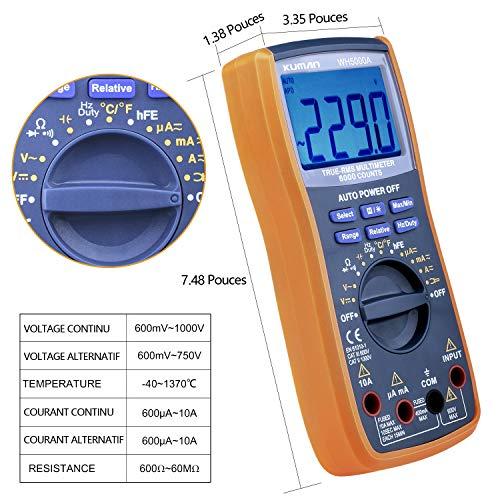 Kuman Multimètre Numérique True RMS 6000 Comptage Multimètre manuel&Automatique de Gamme, Tension, Courant, Résistance, Température, Continuité, Capacité, Fréquence, Test Diode, Transistor WH5000A
