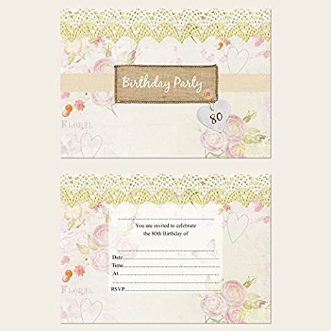 Vintage Country Garden Birthday Party Invitations - Pack of 10 - 30th, 40th, 50th, 60th, 70th, 80th or General (no age) (80th)