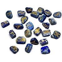 Edelstein Runen mit Gravur Beschriftung und Beutel (Lapislazuli) preisvergleich bei billige-tabletten.eu