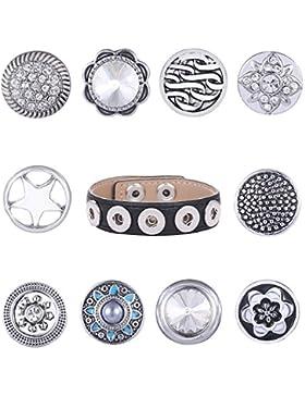Morella Damen SMALL Click-Button SET Armband schwarz 10 SMALL Click-Button Druckknöpfe 12 mm