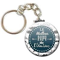 Porte Clés Chaînette 3,8 centimètres le Meilleur Papy de l' Univers Idée Cadeau Accessoire Papi Pépé Grand Père Parent
