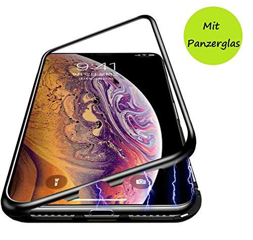 PfX Magnetische 360° Premium Hülle kompatibel mit iPhone XS MAX aus Aluminium inklusive 9H Panzerglas - [Unterstützt Kabelloses Laden] (XS MAX, Schwarz)