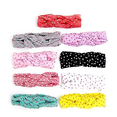 Elenxs 5Pcs Mignon Dots Hair Band bébé Band Fille Cheveux Accessoires couleur aléatoire Bleu