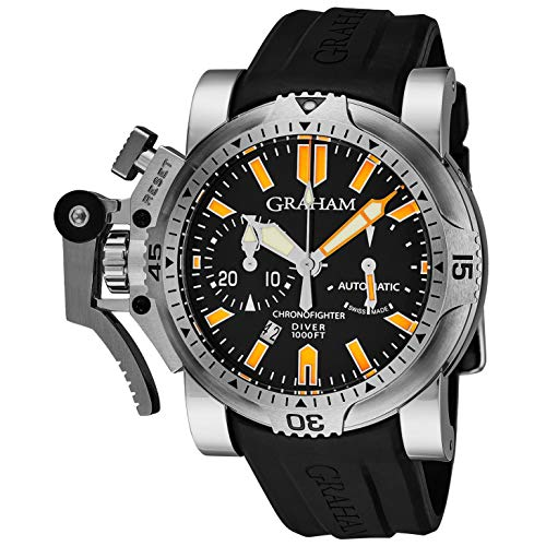 Graham Men's 47mm Black Rubber Band Steel Case Sapphire Crystal Automatic...