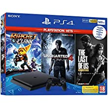 PS4 SLIM 500 Go F Black + The Last Of Us HITS + Ratchet & Clank HITS + Uncharted 4 HITS