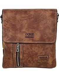 d89941dda Diswa Leather Messenger Shoulder Bag and Handbag for Men and Women (Dark  Brown)