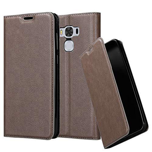 Cadorabo Hülle für Asus ZenFone 3 MAX (5,5 Zoll) - Hülle in Kaffee BRAUN - Handyhülle mit Magnetverschluss, Standfunktion und Kartenfach - Case Cover Schutzhülle Etui Tasche Book Klapp Style