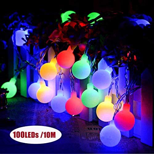 Led Kugel Lichterkette, BACKTURE 10M 100er LED Batterie Kugel Lichterkette Drahtlichterkette 8 Modi Strombetrieben RGB für Weihnachten Party Garten Hochzeit Balkon Deko [Energieklasse A+++]