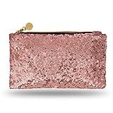 Lady Donovan - Clutch - Edle Abendtasche für Damen und Mädchen - Portemonnaie mit Reißverschluß - ideal für die Party oder Hochzeit - glitzernd - Rose Gold