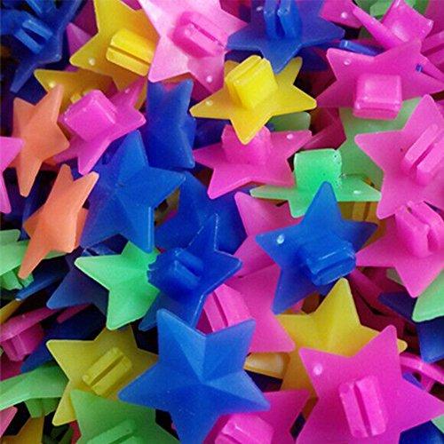 GEZICHTA 1 Beutel mit Reflektoren, Sternen, 36 Stück, Bunte Sterne, Fahrrad, Speichenperlen, Leuchtende Kunststoff-Clip, Speichenperlen, Fahrrad-Perlen, Draht-Perlen, Dekorationen