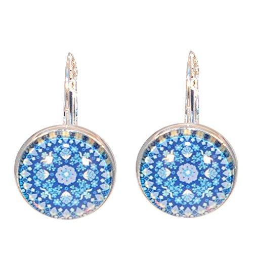 Créative perlas-Pendientes para lavamanos mandala redondo, color azul marino, color azul