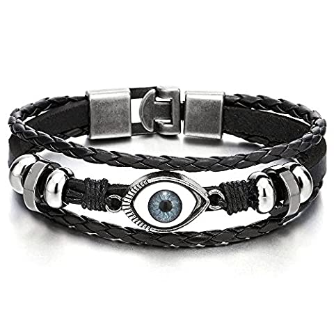 Mens Womens Three-row Leather Black Evil Eye Beads Charms Bracelet Wristband Wrap Bracelet