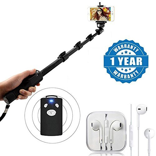 Captcha 1288 Selfie Monopod Stick With Bluetooth Remote Controller With Earpod with Extra Bass, Sound Controller and Mic Compatible with Xiaomi, Lenovo, Apple, Samsung, Sony, Oppo, Gionee, Vivo Smartphones (One Year Warranty)
