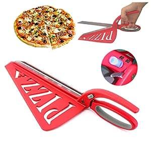 Home Papa Edelstahl Pizza Schere mit abnehmbaren Spachtel und Sicherheitsschalter, rot, 13 Zoll