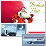 12er Set Weihnachtskarten SANTA CLAUS mit Umschlägen - edle Frohe Weihnachten Karten mit lustiger Karikatur für Privat und Geschäft von BREITENWERK