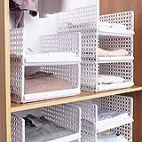 Like-very Juego de 4 Cajas de Almacenamiento apilables para Armario, de plástico, Color Blanco,...